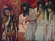 THE EGYPTIANS ADMIRE SARAI'S BEAUTY. Gen. xii. 14. And it came to pass, that, when Abram was come into Egypt, the Egyptians beheld the woman that she was very fair. From the book ' The Old Testament : three hundred and ninety-six compositions illustrating the Old Testament ' Part I by J. James Tissot Published by M. de Brunoff in Paris, London and New York in 1904