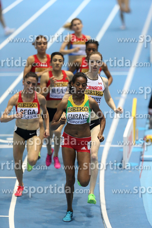 08.03.2014, Ergo Arena, Sopot, POL, IAAF, Leichtathletik Indoor WM, Sopot 2014, im Bild Abeba Aregawi (Sweden) wins 1500 Metres final Luiza Gega (Albania) (L) and Axumawit Embaye (Ethiopia) (R) competite during the run // Abeba Aregawi (Sweden) wins 1500 Metres final Luiza Gega (Albania) (L) and Axumawit Embaye (Ethiopia) (R) competite during the run during day two of IAAF World Indoor Championships Sopot 2014 at the Ergo Arena in Sopot, Poland on 2014/03/08. EXPA Pictures © 2014, PhotoCredit: EXPA/ Newspix/ Michal Fludra<br /> <br /> *****ATTENTION - for AUT, SLO, CRO, SRB, BIH, MAZ, TUR, SUI, SWE only*****