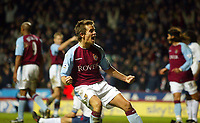 Photograph: Scott Heavey.<br /> Aston Villa v Portsmouth. FA Barclaycard Premiership. 06/01/2003.<br /> Lee Hendrie celebrates the winner