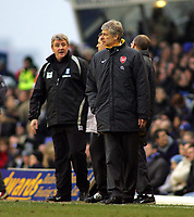 Arsene Wenger Manager Argues with Birmingham City's manager Steve Bruce<br />Arsenal 2005/06<br />Birmingham City V Arsenal 04/02/06 at St' Andrews<br />The Premier League<br />Photo Robin Parker Fotosports International