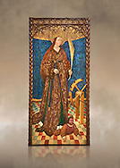 Gothic altarpiece of Saint Catarina (Catherine), 3rd quarter of the 15th century, tempera and gold leaf on for wood.  National Museum of Catalan Art, Barcelona, Spain, inv no: MNAC   114746-7. Against a art background. . .<br /> <br /> If you prefer you can also buy from our ALAMY PHOTO LIBRARY  Collection visit : https://www.alamy.com/portfolio/paul-williams-funkystock/gothic-art-antiquities.html  Type -     MANAC    - into the LOWER SEARCH WITHIN GALLERY box. Refine search by adding background colour, place, museum etc<br /> <br /> Visit our MEDIEVAL GOTHIC ART PHOTO COLLECTIONS for more   photos  to download or buy as prints https://funkystock.photoshelter.com/gallery-collection/Medieval-Gothic-Art-Antiquities-Historic-Sites-Pictures-Images-of/C0000gZ8POl_DCqE