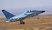 Israeli Air Force (IAF) Alenia Aermacchi M-346 Master (IAF Lavi) a military twin-engine transonic trainer aircraft at takeoff