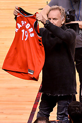 February 11, 2019 - Toronto, Ontario, Canada - British musician and singer Gordon Matthew Thomas Sumner aka Sting visit  the Toronto Raptors vs Brooklyn Nets NBA regular season game at Scotiabank Arena on February 11, 2019, in Toronto, Canada (Toronto Raptors win 127-125) (Credit Image: © Anatoliy Cherkasov/NurPhoto via ZUMA Press)