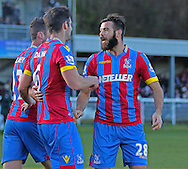 Scott Dann of Crystal Palace celebrates his second goal during the The FA Cup Third Round match between Dover Athletic and Crystal Palace at Crabble Athletic Ground, Dover, United Kingdom on 4 January 2015. Photo by Phil Duncan.