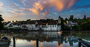 Dusk at Eglisau in Switzerland with reflections in the Rhein river