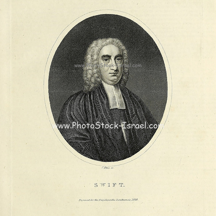 """Jonathan Swift (30 November 1667 – 19 October 1745) was an Anglo-Irish satirist, essayist, political pamphleteer (first for the Whigs, then for the Tories), poet and Anglican cleric who became Dean of St Patrick's Cathedral, Dublin, hence his common sobriquet, """"Dean Swift"""". Swift is remembered for works such as A Tale of a Tub (1704), An Argument Against Abolishing Christianity (1712), Gulliver's Travels (1726), and A Modest Proposal (1729). He is regarded by the Encyclopædia Britannica as the foremost prose satirist in the English language, and is less well known for his poetry. He originally published all of his works under pseudonyms – such as Lemuel Gulliver, Isaac Bickerstaff, M. B. Drapier – or anonymously. He was a master of two styles of satire, the Horatian and Juvenalian styles.  Copperplate engraving From the Encyclopaedia Londinensis or, Universal dictionary of arts, sciences, and literature; Volume XXIII;  Edited by Wilkes, John. Published in London in 1828"""