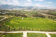 Aerial view of arable farmland. Photographed in Israel in March