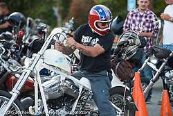 Dale Yamada arriving at Born Free 6 bike show pre-party at Cooks Corner. Trabuco Canyon, CA. USA. June 27, 2014.  Photography ©2014 Michael Lichter.