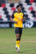 Newport County's David Longe-King (15) in action during the EFL Sky Bet League 2 match between Newport County and Salford City at Rodney Parade, Newport, Wales on 16 January 2021.