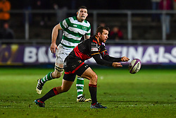 Dragons' Adam Warren in action during todays match<br /> <br /> Photographer Craig Thomas/Replay Images<br /> <br /> EPCR Champions Cup Round 4 - Newport Gwent Dragons v Newcastle Falcons - Friday 15th December 2017 - Rodney Parade - Newport<br /> <br /> World Copyright © 2017 Replay Images. All rights reserved. info@replayimages.co.uk - www.replayimages.co.uk