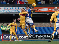 Photo: Ashley Pickering.<br />Ipswich Town v Burnley. Coca Cola Championship. 02/12/2006.<br />Alan Lee (blue) fires in a shot in the first half