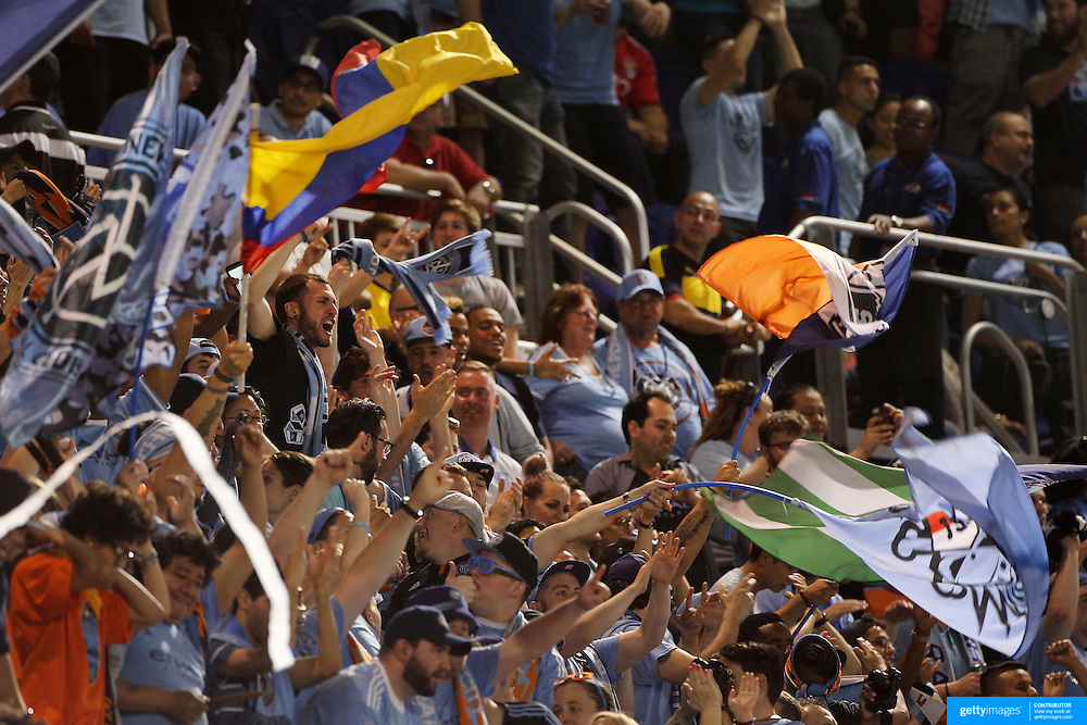 NYCFC fans celebrate a goal during the New York Red Bulls Vs NYCFC, MLS regular season match at Red Bull Arena, Harrison, New Jersey. USA. 10th May 2015. Photo Tim Clayton