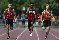 June 10, 2017 - St. Paul, Minn, USA - United States - Denzel Brown of Eden Prairie won the boys 200 meter dash with a time of 20.97. ]  Shari L. Gross • sgross@startribune.com  Finals of the MSHSL state Class 2A track meet took place at Klas Field on the campus of Hamline University in St. Paul, Minn. on Saturday, June 10, 2017 (Credit Image: © Shari L. Gross/Minneapolis Star Tribune via ZUMA Wire)