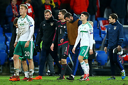 November 12, 2017 - Basel, Switzerland - The disappointment of Michael McGovern and Jordan Jones of Northern Ireland at the end of the match  during the FIFA 2018 World Cup Qualifier Play-Off: Second Leg between Switzerland and Northern Ireland at St. Jakob-Park on November 12, 2017 in Basel, Basel-Stadt. (Credit Image: © Matteo Ciambelli/NurPhoto via ZUMA Press)