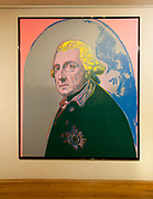 A portrait of Frederick the Great by Andy Warhol, Sans Souchi Palace interior, Potsdam, Brandenburg, Germany.