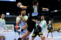 Fabian Wiede of Germany during handball match between National Teams of Germany and Slovenia at Day 2 of IHF Men's Tokyo Olympic  Qualification tournament, on March 13, 2021 in Max-Schmeling-Halle, Berlin, Germany. Photo by Vid Ponikvar / Sportida