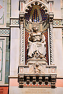 Bishop Agostino Tinacci (Tinaccius Episc.), who blessed the first pilaster in 1357  on  the facade of  the Gothic-Renaissance Duomo of Florence,  Basilica of Saint Mary of the Flower; Firenza ( Basilica di Santa Maria del Fiore ).  Built between 1293 & 1436. Italy .<br /> <br /> Visit our ITALY PHOTO COLLECTION for more   photos of Italy to download or buy as prints https://funkystock.photoshelter.com/gallery-collection/2b-Pictures-Images-of-Italy-Photos-of-Italian-Historic-Landmark-Sites/C0000qxA2zGFjd_k<br /> .<br /> <br /> Visit our MEDIEVAL PHOTO COLLECTIONS for more   photos  to download or buy as prints https://funkystock.photoshelter.com/gallery-collection/Medieval-Middle-Ages-Historic-Places-Arcaeological-Sites-Pictures-Images-of/C0000B5ZA54_WD0s