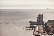Belém Tower seen from the top of the Discoveries Monument.