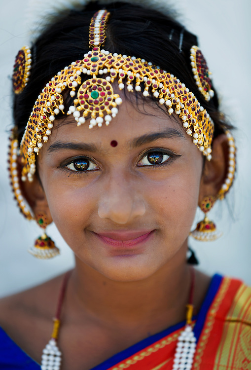 Ten-year-old Sandra Jose, of Naples, dresses for a traditional Diwali dance at the annual Naples India Fest at Fleischmann Park on Saturday, March 21, 2015, in Naples.