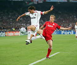 Athens, Greece - Wednesday, May 23, 2007: Liverpool's Dirk Kuyt and AC Milan's Paolo Maldini in action during the UEFA Champions League Final at the OACA Spyro Louis Olympic Stadium. (Pic by David Rawcliffe/Propaganda)