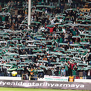 Bursaspor's supporters during the Turkish soccer super league match Bursaspor between Fenerbahce at the Ataturk Stadium in Bursa Turkey on Monday, 24 November 2014. Photo by Aykut AKICI/TURKPIX