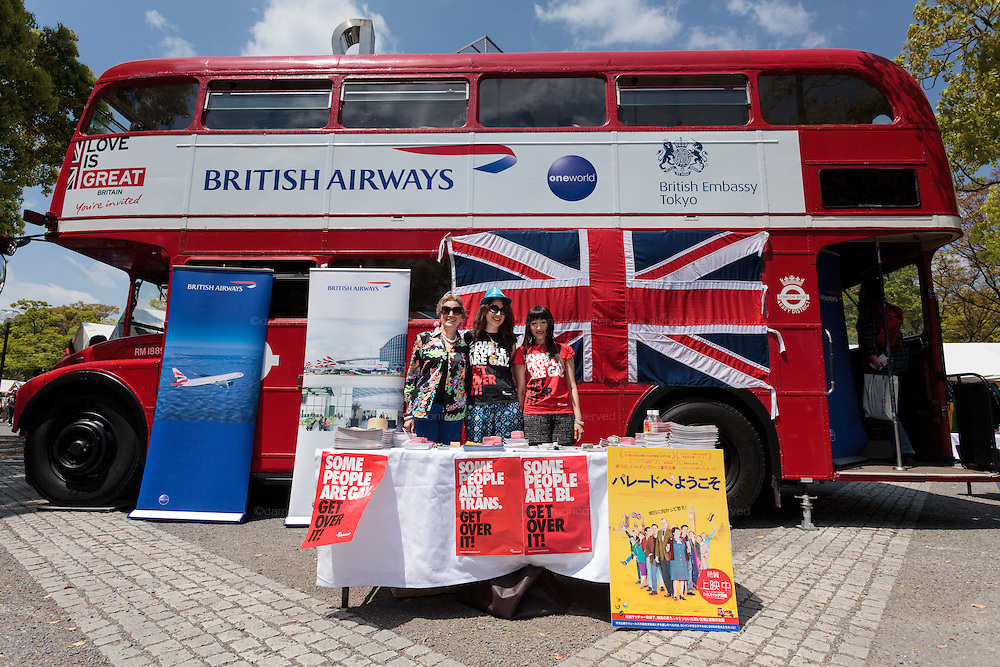 A London Bus at the British Embassy stand at The Rainbow Pride Event in Yoyogi Park, Shibuya, Tokyo, Japan. Sunday, April 26th 2015. This is the forth annual celebration of LGBT issues in Tokyo and forms part of a wider Rainbow Week. About 5% of the Japanese population identify as homosexual and this event hopes to foster a society where they can live equally and without prejudice.