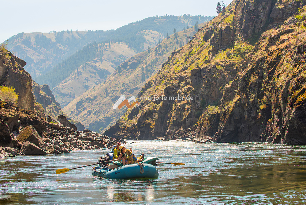 Family spotting wildlife while rafting the Main Lower Salmon River, Hammer Creek to Hellar Bar, Idaho.