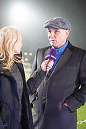 Vinnie Jones is interviewed ahead of the The FA Cup fourth round match between AFC Wimbledon and West Ham United at the Cherry Red Records Stadium, Kingston, England on 26 January 2019.