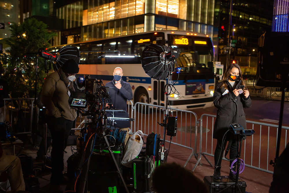 New York, NY - 3 November 2020. New York City anticipates presidential election results as polls in some states close. Television crews set up to broadcast on Fifth Avenue a half block from Trump Tower.