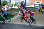 #40 (NAVRESTAD Tore) NOR and#313 (KIMMANN Niek) NED at Round 6 of the 2019 UCI BMX Supercross World Cup in Saint-Quentin-En-Yvelines, France