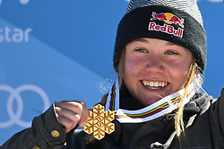 19.03.2017, Ski Stadium, Sierra Nevada, ESP, FIS Freestyle Ski and Snowboard WM, Sierra Nevada 2017, Slope Style Ski, im Bild Tess Ledeux (FRA) celebrates after winning the gold medal following the Women's Slope Style Ski Final // Tess Ledeux (FRA) celebrates after winning the gold medal following the Women's Slope Style Ski Final of the FIS Freestyle Ski & Snowboard World Championships 2017 at the Ski Stadium in Sierra Nevada, Spain on 2017/03/19. EXPA Pictures © 2017, PhotoCredit: EXPA/ Focus Images/ Kristian Kane<br /> <br /> *****ATTENTION - for AUT, GER, FRA, ITA, SUI, POL, CRO, SLO only*****