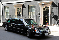 © licensed to London News Pictures. LONDON, UK  24/05/11. The President's car waits outside No 10. Barak Obama, and Michelle Obama are met by David Cameron and Samantha Cameron in Downing Street during US President Obama's first State Visit to the United Kingdom. Please see special instructions. Photo credit should read Stephen Simpson/LNP
