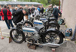 "© Licensed to London News Pictures. 24/05/2015. Warmley, South Gloucestershire UK.  A 1927 Brooklands Douglas motorcycle built especially for the Isle of Man TT races and also at the banked trackside at Brooklands. Annual rally of vintage Douglas Motorcycles at Kingswood Heritage Museum.  The world famous Douglas bikes were built in Kingswood from 1907 to 1957. Some 25000 were constructed for military use in the First World War. The bikes were regular winners of the Isle of Man TT races. Bill Douglas, great grandson of the founders of the firm, said: ""It is always a stirring sight to see the bikes in action, and we expect a big turnout around the area to watch the cavalcade"". Photo credit : Simon Chapman/LNP"