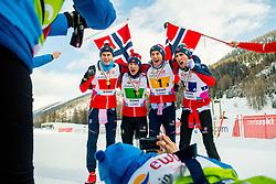 February 3, 2018 - Goms, SWITZERLAND - 180203 Harald ¯stberg Amundsen, Jon Rolf Skamo Hope, HÅ'vard Moseby and JÂ¿rgen Lippert of Norway pose with the gold medals after winning the men's 4x5 km relay during the FIS Nordic Junior World Ski Championships on February 3, 2018 in Obergoms..Photo: Vegard Wivestad GrÂ¿tt / BILDBYRN / kod VG / 170099 (Credit Image: © Vegard Wivestad Gr¯Tt/Bildbyran via ZUMA Press)