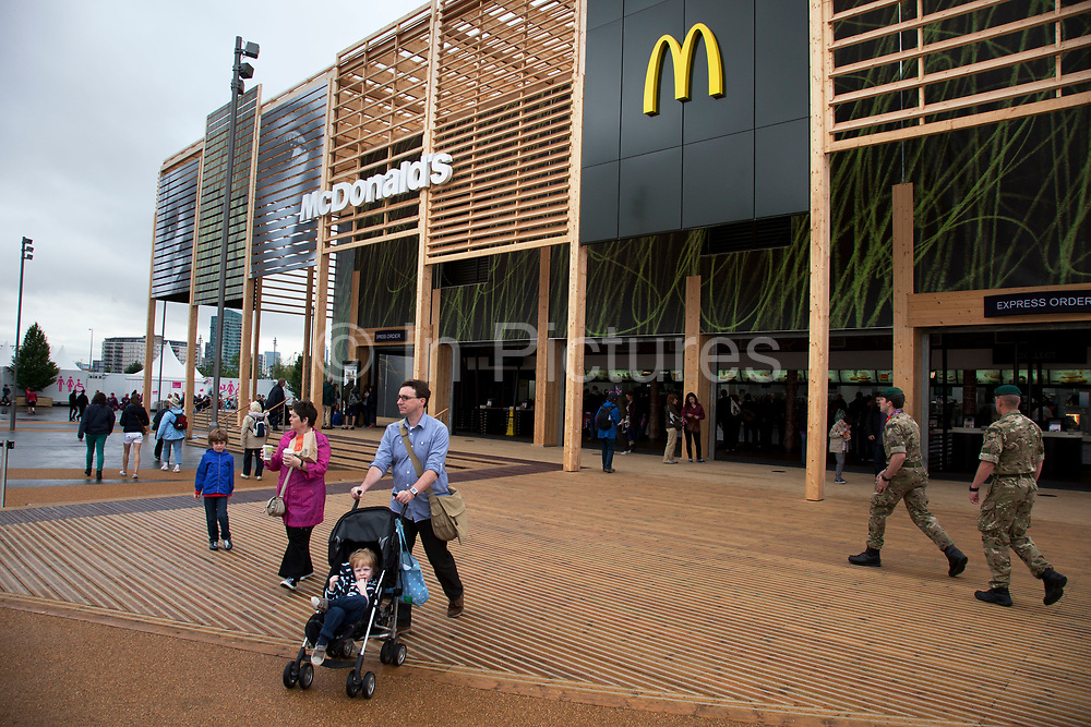 London 2012 Olympic Park in Stratford, East London. Huge McDonalds restaurant. Being a main sponsor the fast food chain was allowed to build two big restaurants on the site, amid some controversy.