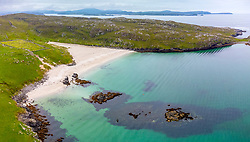 Aerial view from drone of Bosta beach on Great Bernera, Isle of Lewis, Outer Hebrides, Scotland, UK