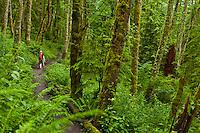 A woman hiking on a trail on Tiger Mountain, Washington