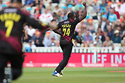Somersets Jerome Taylor celebrates a wicket during the Vitality T20 Finals Day semi final 2018 match between Sussex Sharks and Somerset at Edgbaston, Birmingham, United Kingdom on 15 September 2018.