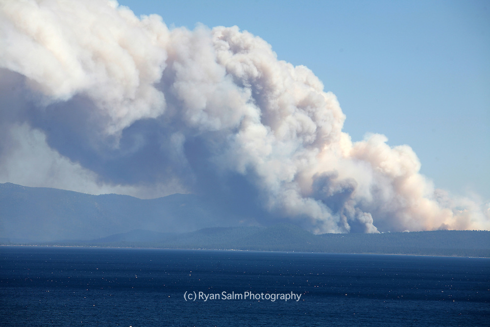 The Angora Fire in South Lake Tahoe as seen from the North Shore