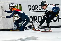 Itzhak de Laat in action on the final 1000 meter during ISU World Cup Finals Shorttrack 2020 on February 15, 2020 in Optisport Sportboulevard Dordrecht.