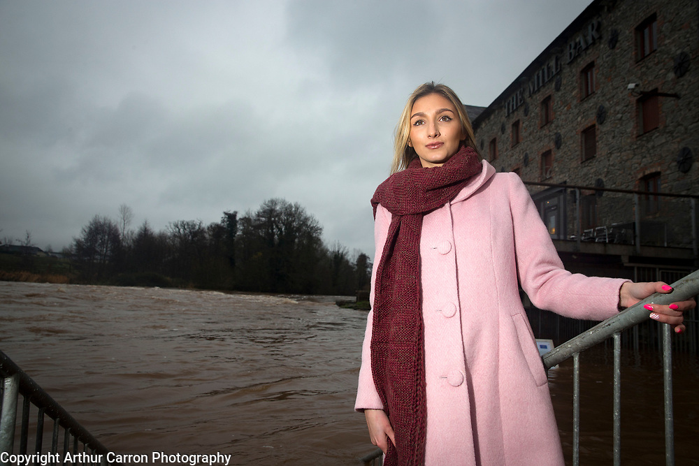 12/12/15 Model Nollaig Malone pictured at the flooding at Annacotty in Limerick. Picture: Arthur Carron