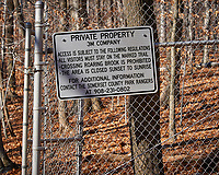 Property Boundary Sign at the Sourland Mountain Preserve. Winter Nature in New Jersey. Image taken with a Nikon D3x camera and 80-400 mm VR lens.