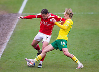 Football - 2020 / 2021 Sky Bet Championship - Barnsley vs Norwich City - Oakwell<br /> <br /> Callum Brittain of Barnsley vies with Todd Cantwell of Norwich City<br /> <br /> Credit :COLORSPORT/BRUCE WHITE