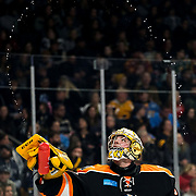 Fort Wayne's Patrick Munson (34) sprays water from his bottle after getting a drink at a time out during an ECHL hockey game between the Toledo Walleye and Fort Wayne Komets at the Huntington Center in Toledo on Saturday, Jan. 25, 2020. THE BLADE/KURT STEISS<br /> SPT Walleye26p