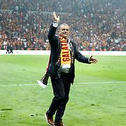 Galatasaray's coach Fatih Terim celebrate victory during their Turkish Super League soccer match Galatasaray between Sivasspor at the AliSamiYen Spor Kompleksi TT Arena at Seyrantepe in Istanbul Turkey on Sunday 05 May 2013. Photo by TURKPIX