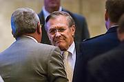 04 AUGUST 2004 - PHOENIX, AZ:  Secretary of Defense DONALD RUMSFELD speaks at the Arizona Biltmore in Phoenix, AZ on Aug. 4, 2004. Rumsfeld served as President George W. Bush's Secretary of Defense from 2000 until his resignation in 2006. Rumsfeld was the architect of the wars in Iraq and Afghanistan.    PHOTO BY JACK KURTZ