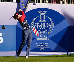 Solheim Cup 2019 at Centenary Course at Gleneagles in Scotland, UK. Annie Park of USA tees off on 1st hole on Friday morning Foursomes.