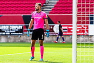 Exeter City's goalkeeper Lewis Ward (1) looks despondent after Bristol City's first goal during the EFL Cup match between Bristol City and Exeter City at Ashton Gate, Bristol, England on 5 September 2020.