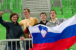 Fans of Krim after the handball match between RK Krim Mercator (SLO) and Gyori Audi Eto KC (HUN) in 3rd Round of Women's Champions league, on October 23, 2010 at SRC Stozice, Ljubljana, Slovenia. Gyori defeated Krim 34 - 30. (Photo By Vid Ponikvar / Sportida.com)