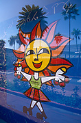 A happy logo for Miami and the Sunshine State with Palm trees in the background, on 15th May 1996, in Miami Beach, Florida, USA.